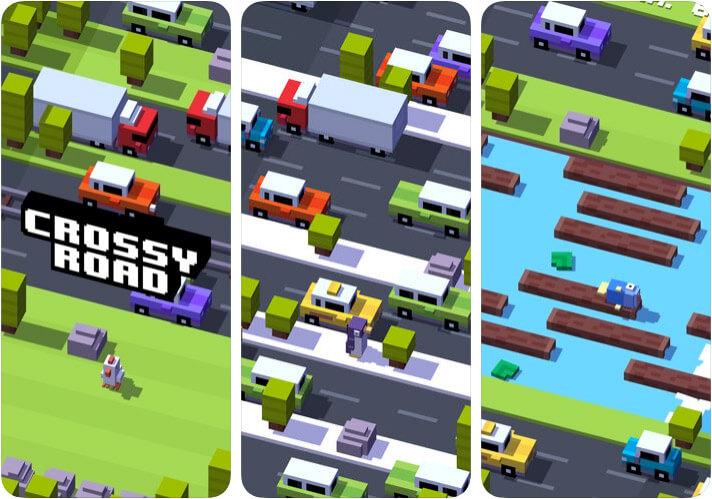Capture d'écran du jeu d'arcade Crossy Road pour iPhone et iPad
