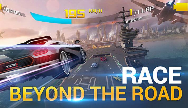 Capture d'écran du jeu d'arcade de course Asphalt 8 pour iPhone et iPad