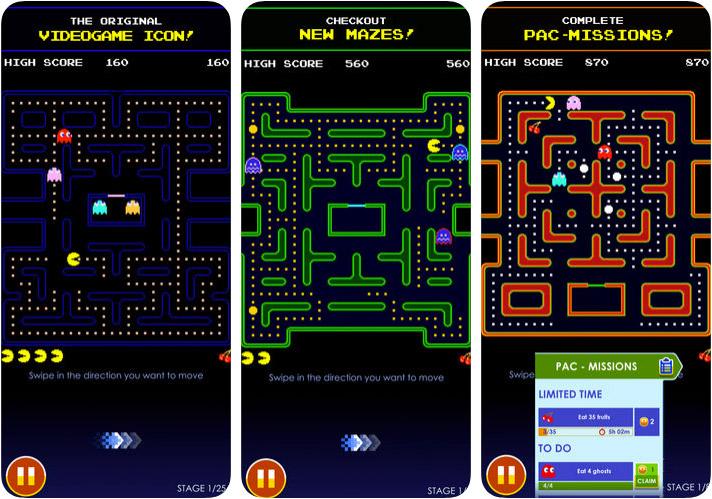 Capture d'écran du jeu d'arcade PAC-MAN pour iPhone et iPad