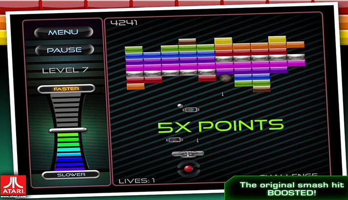 Capture d'écran du jeu d'arcade Breakout pour iPhone et iPad