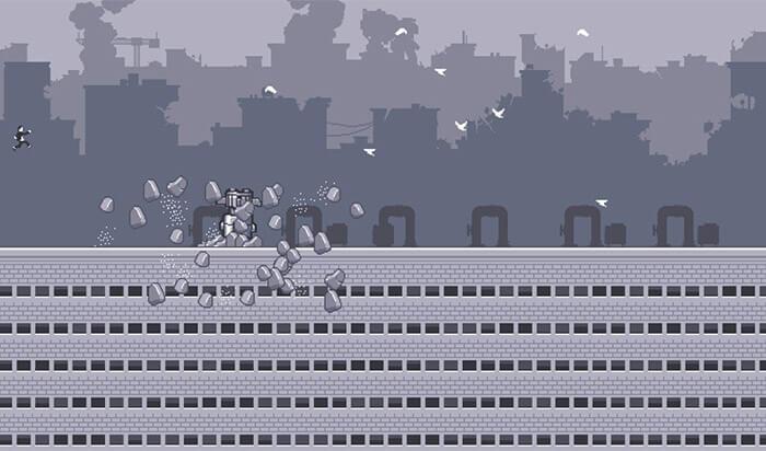 Capture d'écran du jeu d'arcade Canabalt pour iPhone et iPad