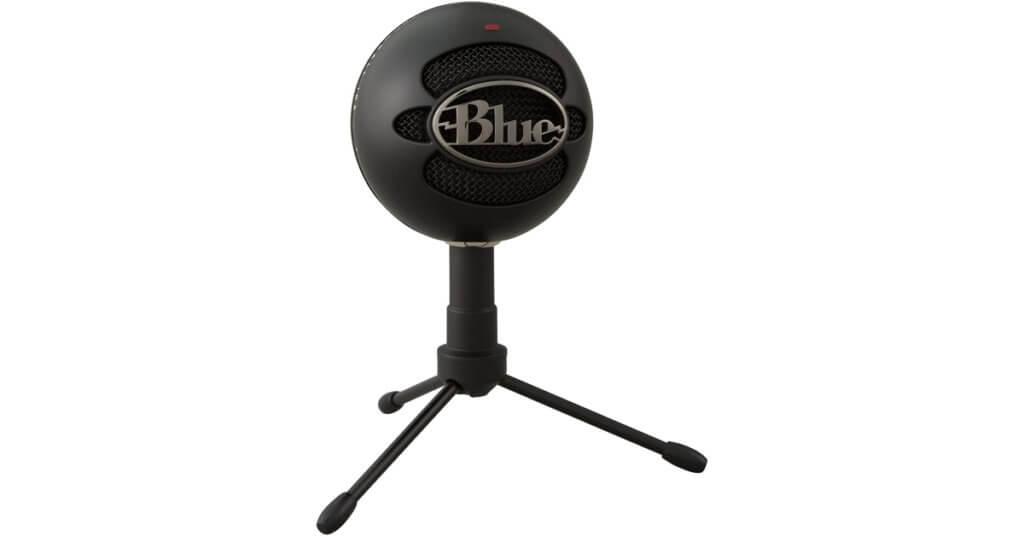 podcasting microphone bleu boule de neige