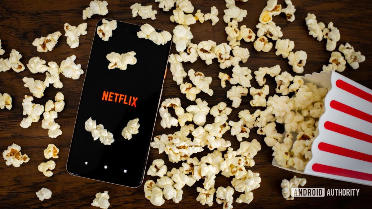 Netflix avec pop-corn stock photo 1