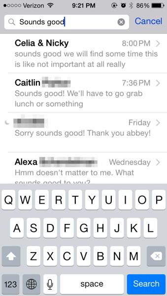 Appuyez sur l'application de messagerie sur iPhone