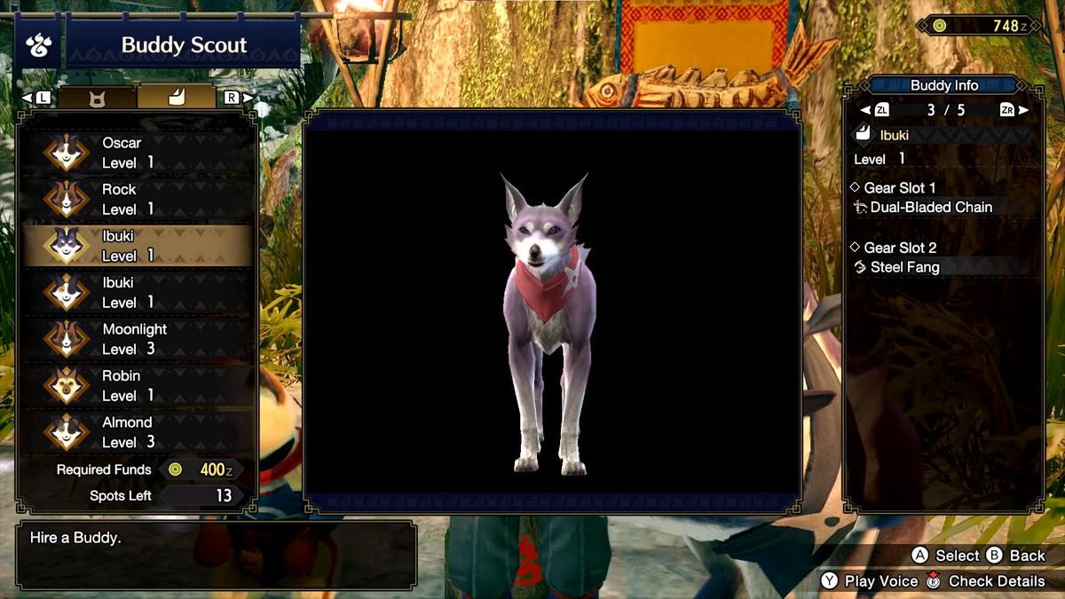 Le joueur achète un nouveau Palamute dans Monster Hunter Rise