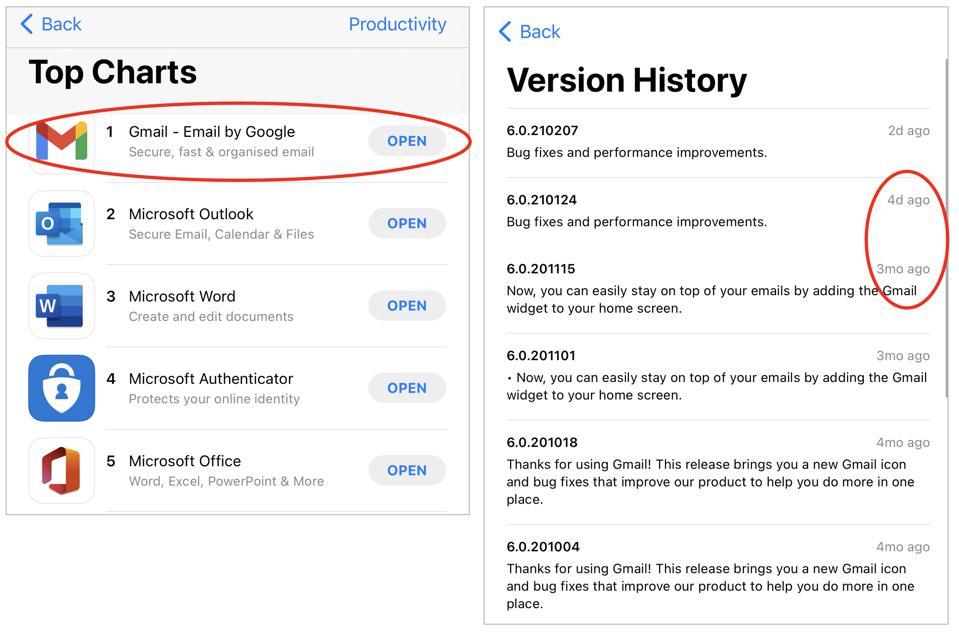 Gmail est en tête de la ″ productivité ″ d'iOS, mais n'a pas été mis à jour pendant des mois.