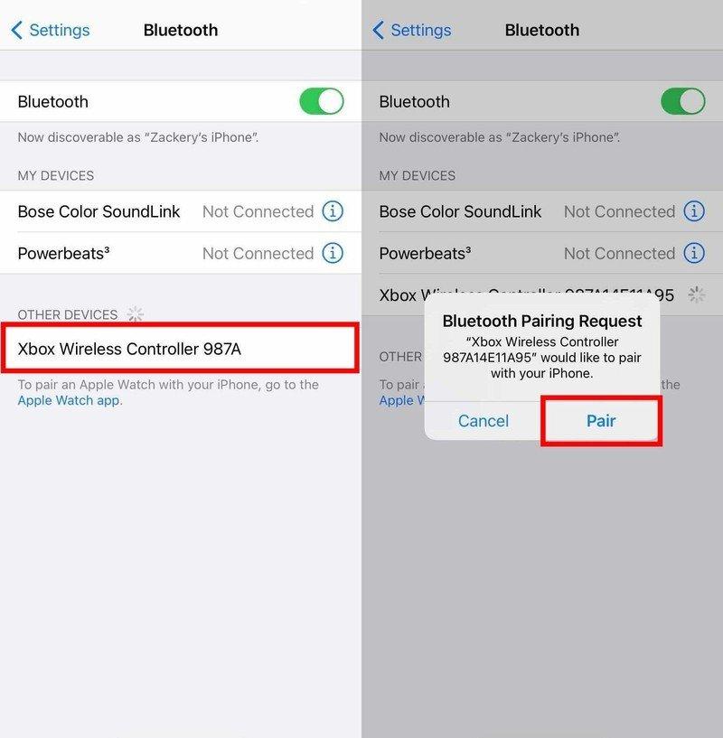Comment utiliser un contrôleur Xbox One ou Series X | S avec iPhone ou iPad: attendez que le contrôleur Xbox apparaisse sous Autres appareils, appuyez sur le contrôleur Xbox pour le coupler avec votre appareil.