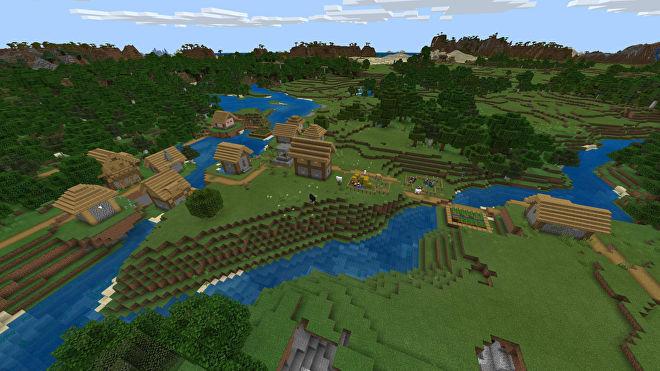 Une capture d'écran Minecraft Bedrock d'un nouveau monde créé avec la graine 2034376196.