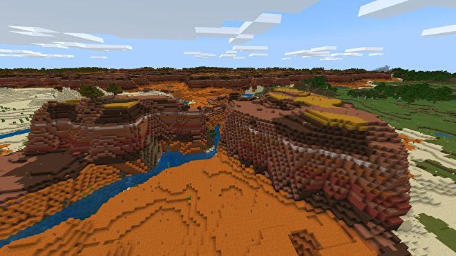 Une capture d'écran Minecraft Bedrock d'un nouveau monde créé avec la graine -2076244187.