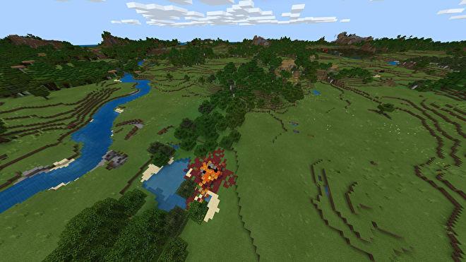 Une capture d'écran Minecraft Bedrock d'un nouveau monde créé avec la graine -257277437.