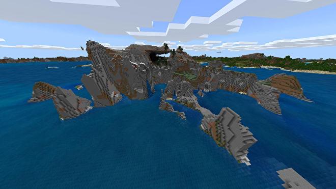 Une capture d'écran Minecraft Bedrock d'un nouveau monde créé avec la graine -171182221.
