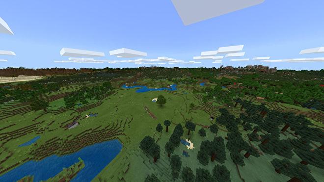 Une capture d'écran Minecraft Bedrock d'un nouveau monde créé avec la graine -433664663.