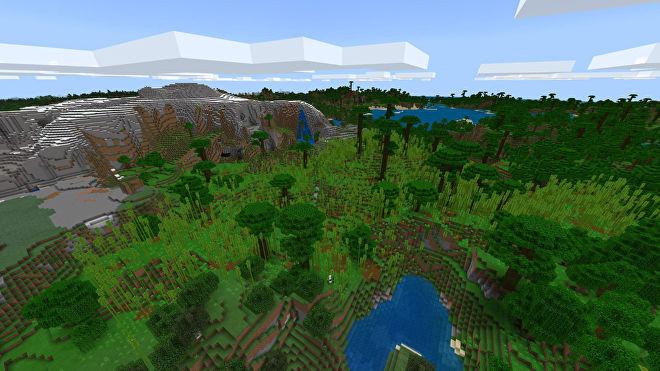 Une capture d'écran Minecraft Bedrock d'un nouveau monde créé avec la graine 2141551899.
