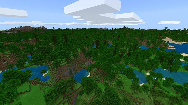 Une capture d'écran Minecraft Bedrock d'un nouveau monde créé avec la graine 1653942124.