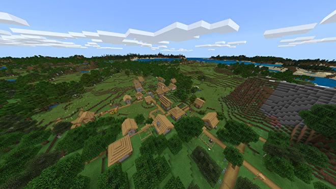 Une capture d'écran Minecraft Bedrock d'un nouveau monde créé avec la graine -850418298.