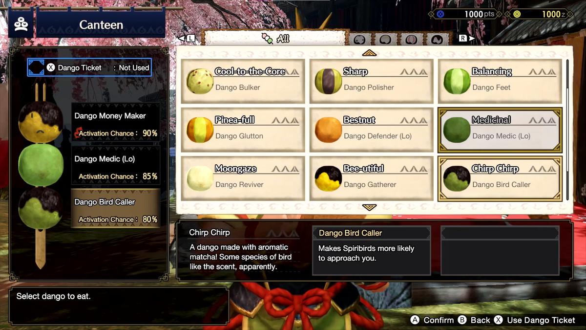Menu alimentaire Dango dans Monster Hunter Rise