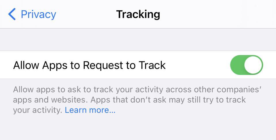 Autoriser les applications à demander le suivi des paramètres de l'iPhone