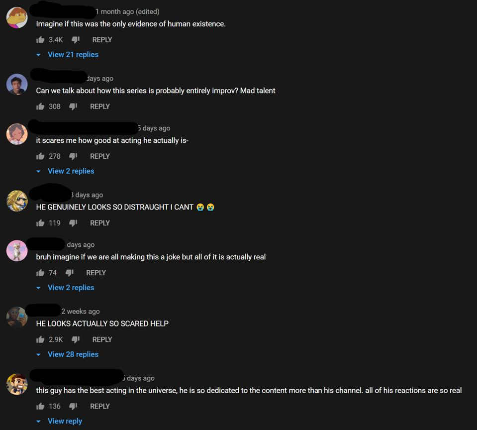 La section des commentaires YouTube sur l'une des vidéos d'Arcade Craniacs à 3 heures du matin