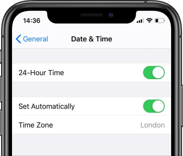 Paramètres de date et d'heure sur iPhone