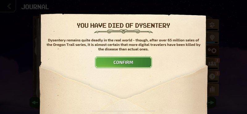 Dysenterie décédée de l'Oregon Trail