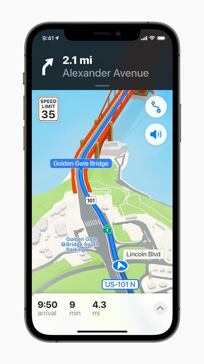 Application Apple Maps sur iPhone.