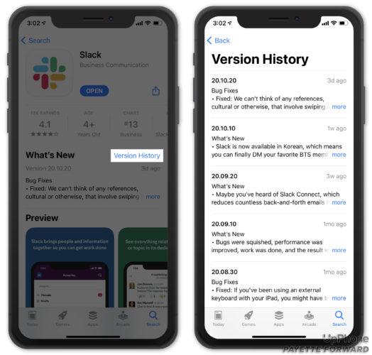 vérifier l'historique des versions pour l'application iphone