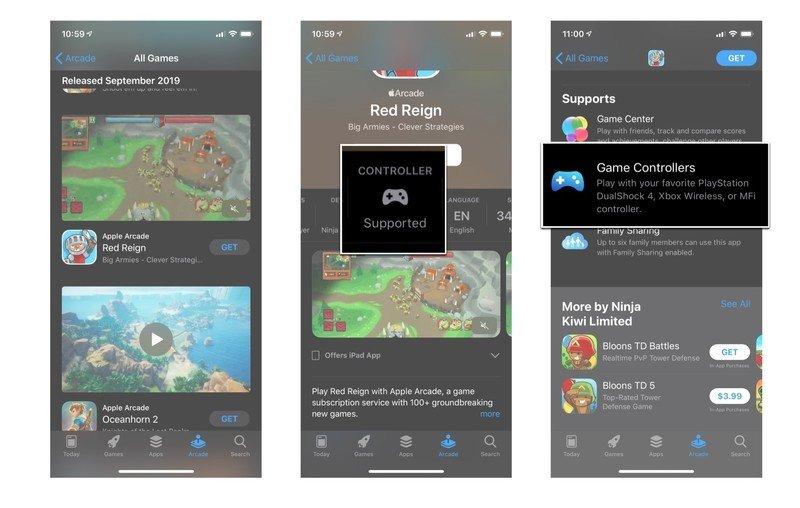Captures d'écran de l'App Store d'Apple montrant le bloc Support du contrôleur sous la liste des applications