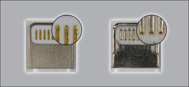 Deux câbles Lightning.  L'un est clairement fabriqué avec de meilleurs matériaux que l'autre.  Celui qui a l'air brut n'est pas certifié MFi.