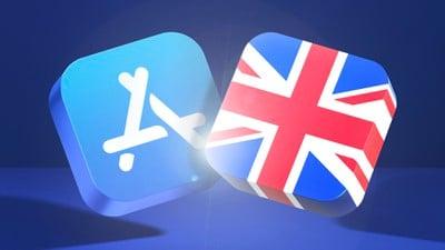 bannière bleue de l'app store au royaume-uni corrigé