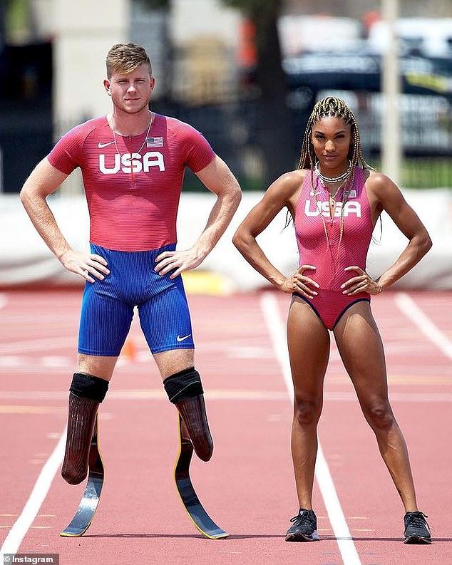 Couple puissant !  Hunter Woodhall et Tara Davis, tous deux âgés de 22 ans, devraient tous deux concourir à Tokyo dans des épreuves sur piste