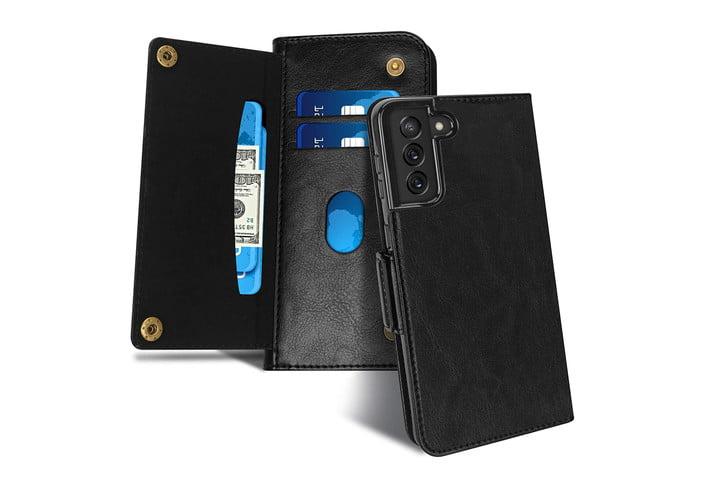 Étui portefeuille en cuir de luxe FYY pour Samsung Galaxy S21.