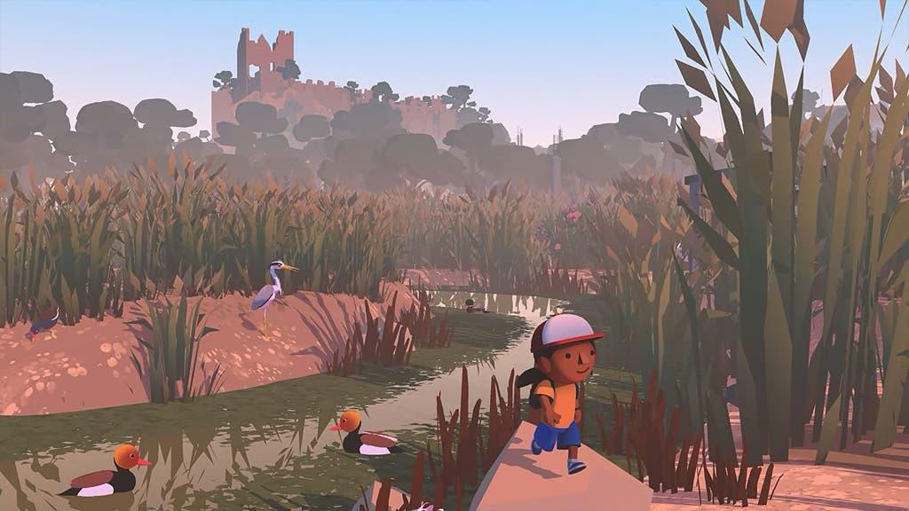 Une capture d'écran du jeu vidéo Alba: A Wildlife Adventure, montrant le personnage principal marchant à l'extérieur dans un cadre naturel.