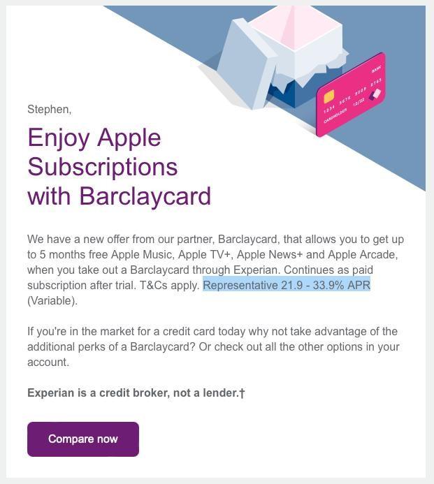 Capture d'écran de l'offre Experian Barclaycard